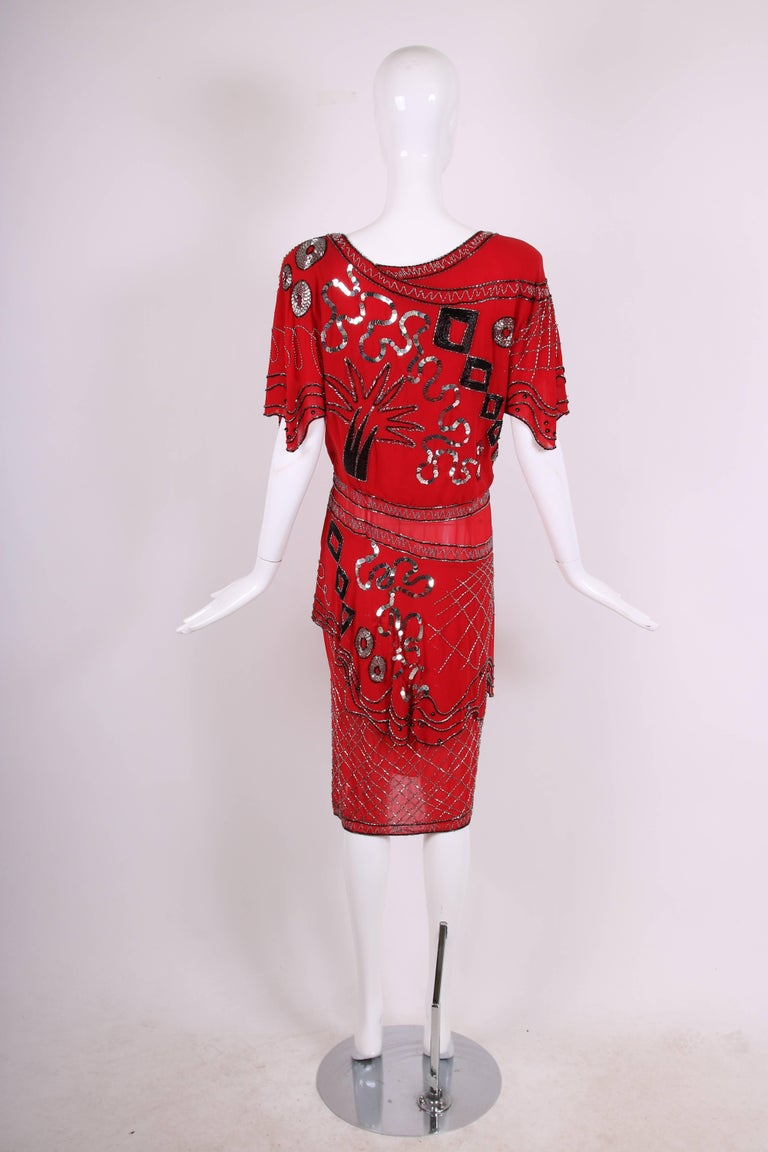Women's 1984 Fabrice Red Silk Sequin & Beaded Cocktail Dress  For Sale