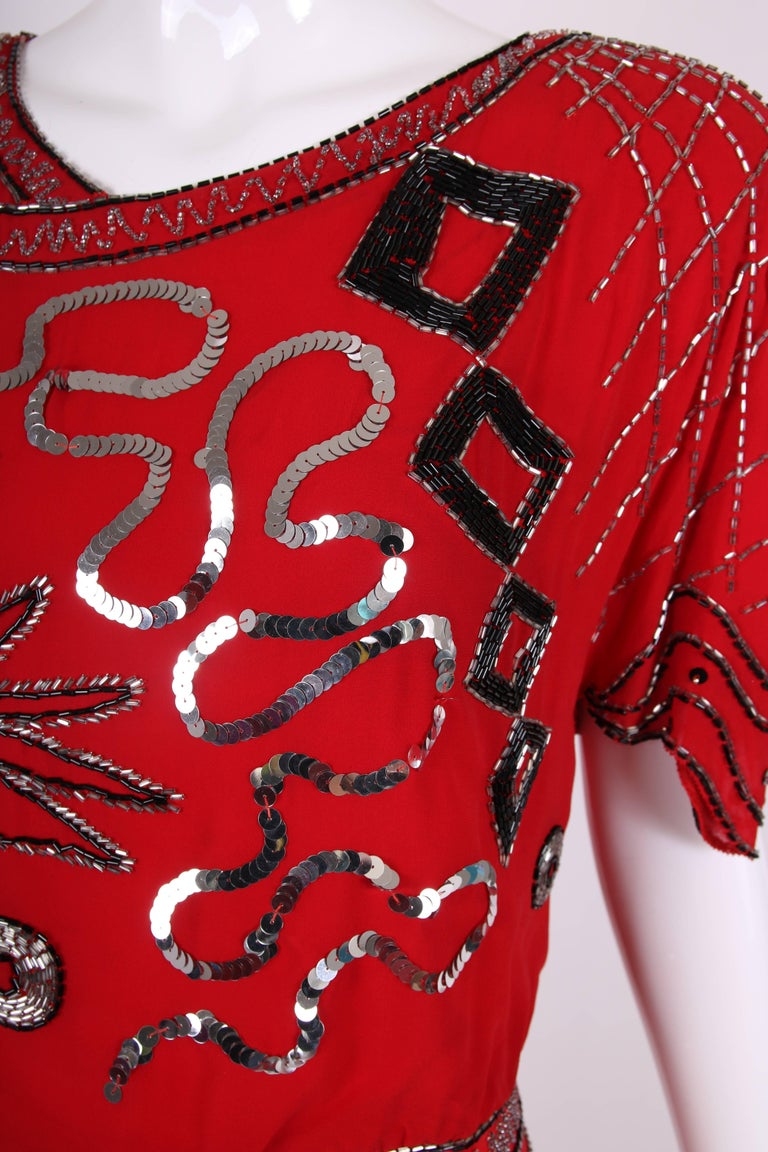 1984 Fabrice Red Silk Sequin & Beaded Cocktail Dress  For Sale 1
