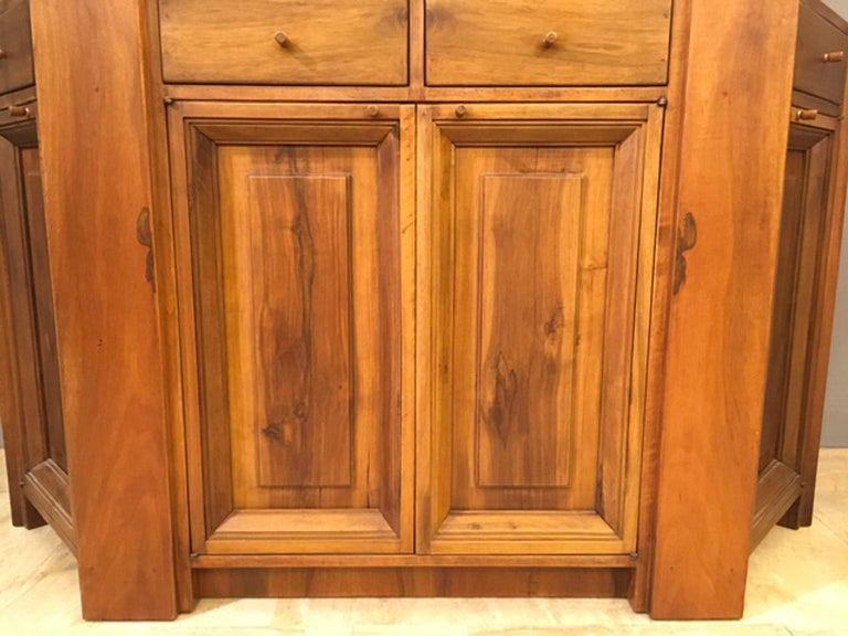 1984 Italy Officina Rivadossi Walnut Cabinet Vitrine in Brutalist Style For Sale 5
