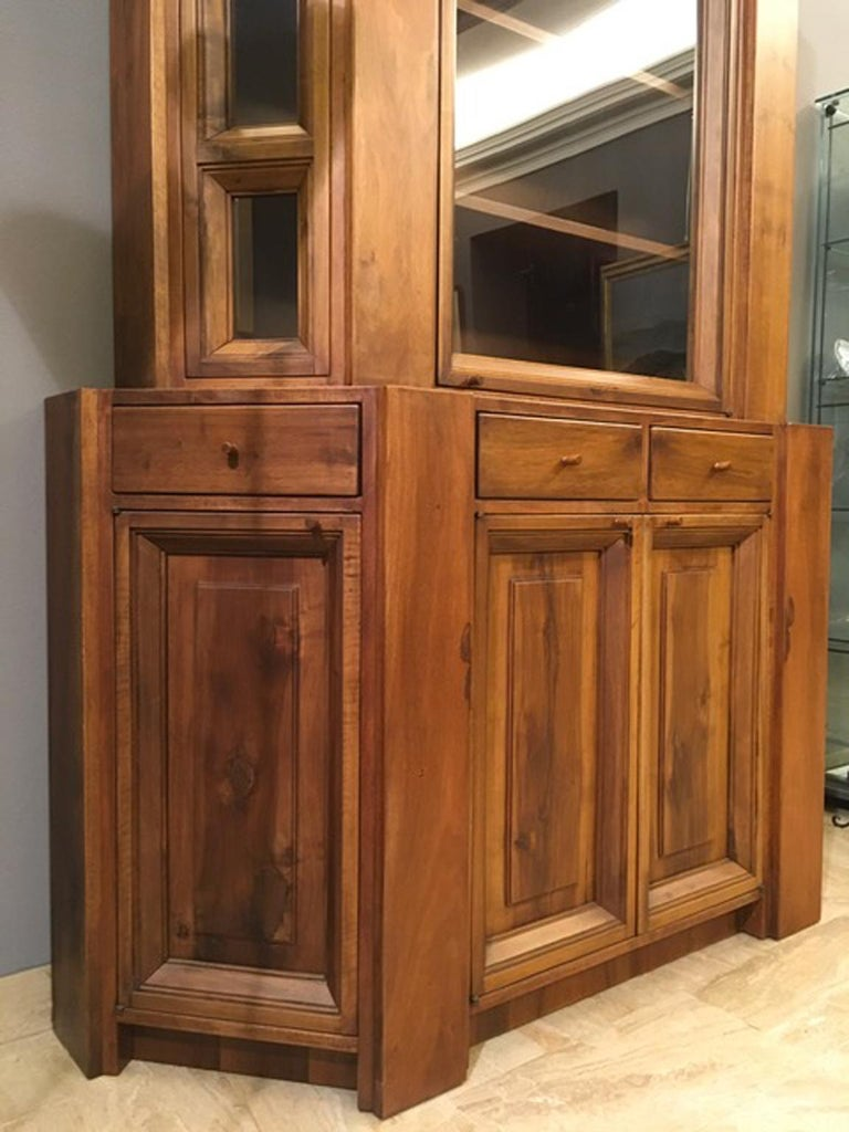 1984 Italy Officina Rivadossi Walnut Cabinet Vitrine in Brutalist Style For Sale 3