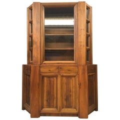 1984 Italy Officina Rivadossi Walnut Cabinet Vitrine in Brutalist Style