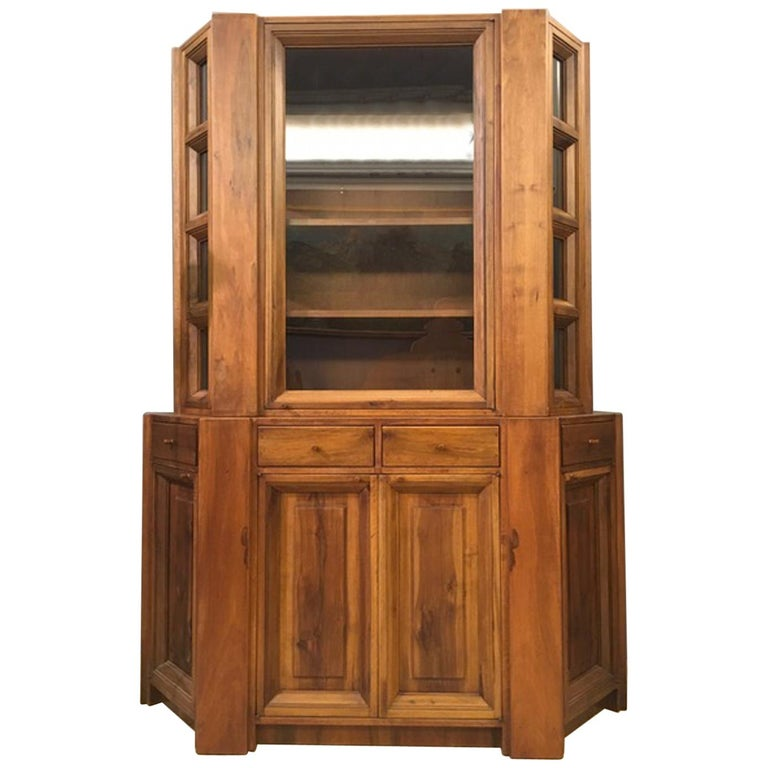 1984 Italy Officina Rivadossi Walnut Cabinet Vitrine in Brutalist Style For Sale