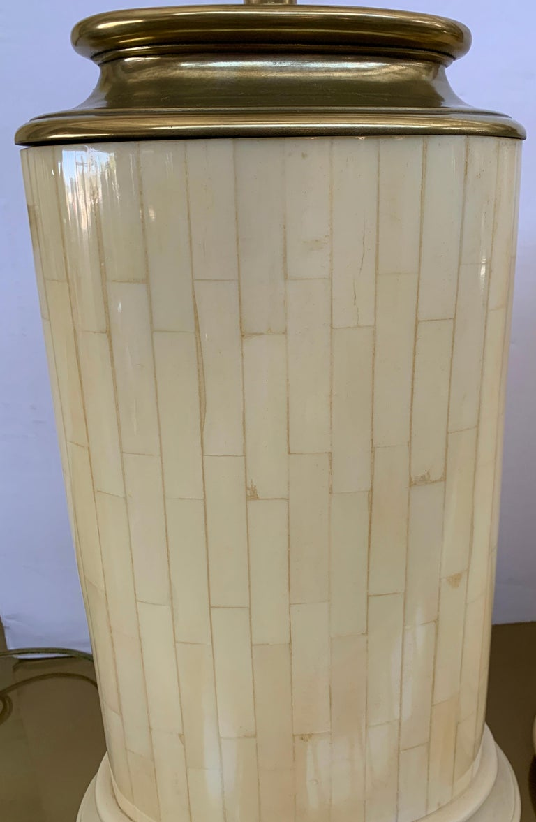 American 1984 Pair of Tessellated Faux Bone Lamps For Sale
