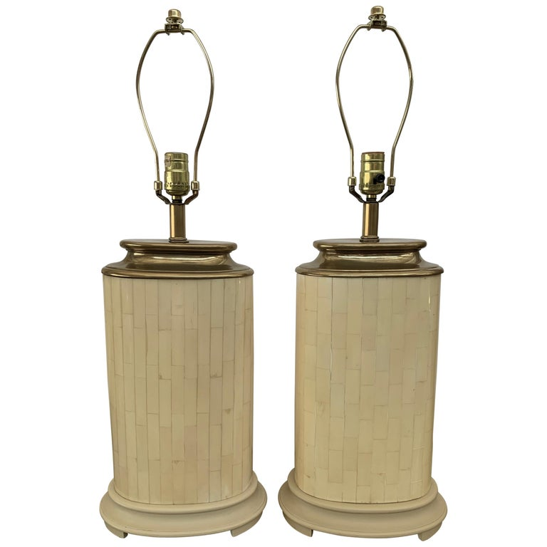 1984 Pair of Tessellated Faux Bone Lamps For Sale