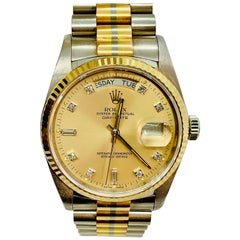1984 Rolex Tridor Day Date 18 Karat Gold and Diamond Watch