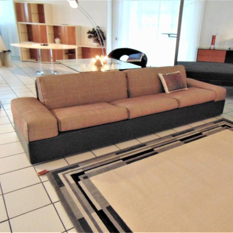 1984 sofa gray leather gray maroon fabric sormani