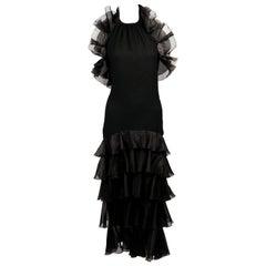 1984 YVES SAINT LAURENT crepe dress with organza ruffles