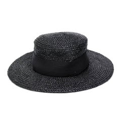 1984s Chanel Black Wide Brim Straw Hat