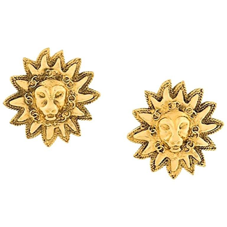 1984s Chanel Emblematic Sun Logo Gold Tone Clip On Earrings For Sale