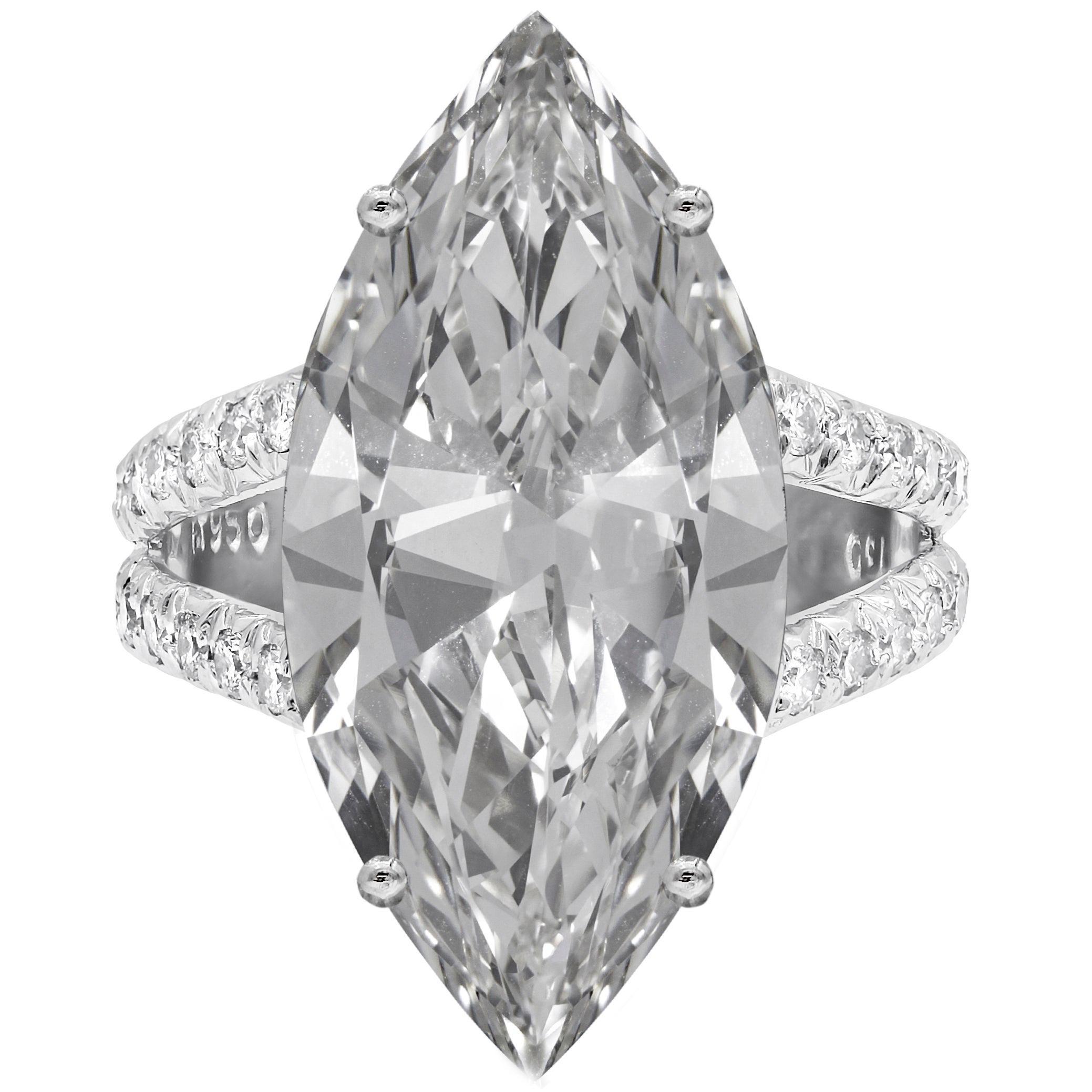 19.85 Carat Marquise Cut Flawless Diamond Ring