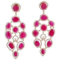 19.85 Carat Ruby 18 Karat Gold Diamond Earrings