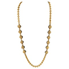 1985 Chanel Gold Tone Chain Link Necklace with Gilded Beads