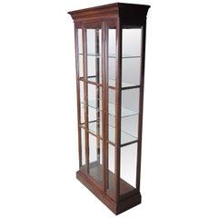 1985 Ethan Allen Georgian Court Solid Cherry Curio Display Cabinet 11-9019