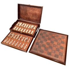 """1985 Franklin Mint """"The Great Crusaders"""" Chess Set Game with Leather Board"""