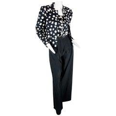 1985 Geoffrey Beene Black/Cream Moon, Star, and Flower Jacket & Halter Top