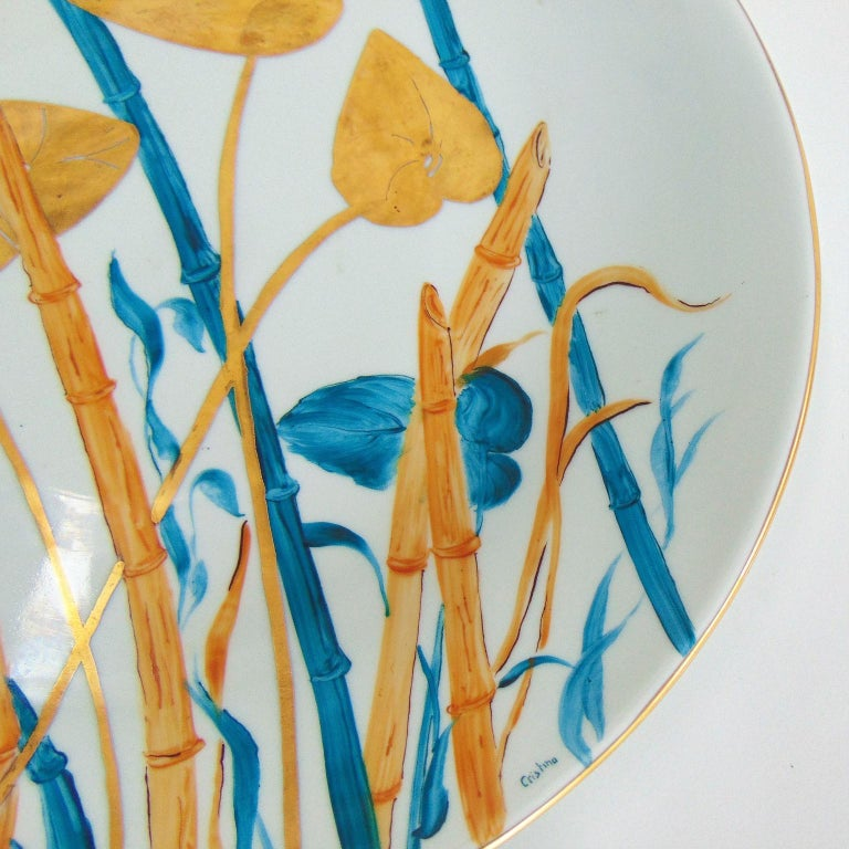 1985 Pure Gold and Porcelain Hand Painted Italian Plate, Green, Gold, White For Sale 3