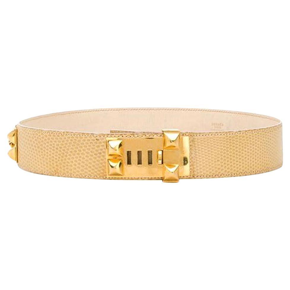 1985s Gorgeous Hermes Yellow Leather Collier de Chien Medor Belt 70cm