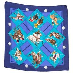 1985s Hermes Le Monde du Polo Designed by Chantal de Crissey Silk Scarf