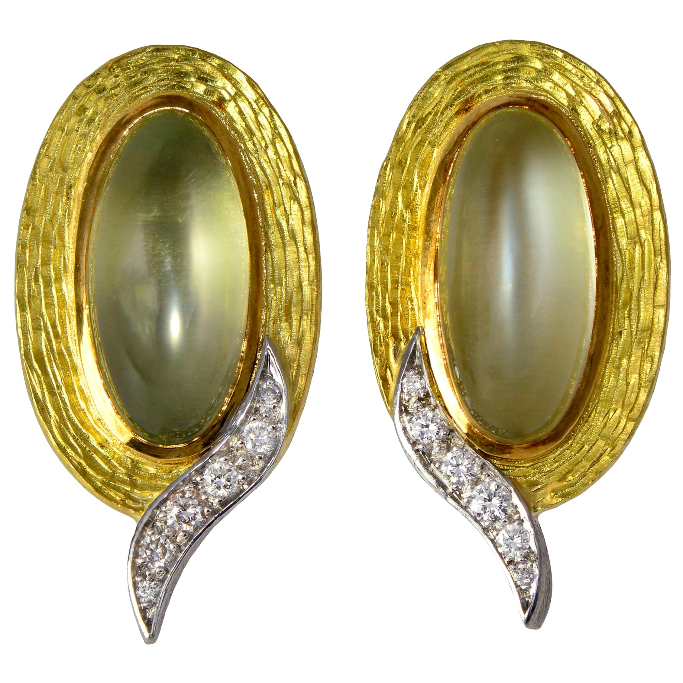 1986 Andrew Grima, Moonstone, Diamond and Yellow and White Gold Earclips