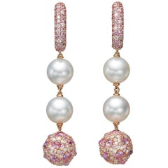 19.86 Carat Diamond Pink Sapphire South Sea Pearl 18 Karat Gold Drop Earrings
