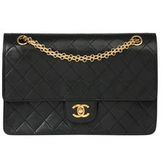 1986 Chanel Black Quilted Lambskin Vintage Classic Double Flap Bag