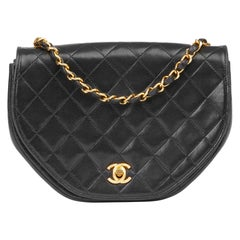 1986 Chanel Black Quilted Lambskin Vintage Classic Round Flap Bag