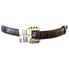 1986 Kieselstein-Cord Brown Alligator Belt w/.925Sterling Silver Buckle