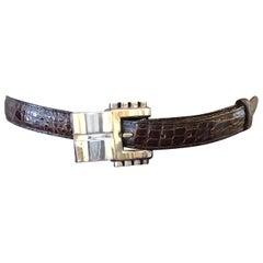 1986 Kieselstein-Cord Brown Alligator Belt w/.925Sterling Silver Buckle