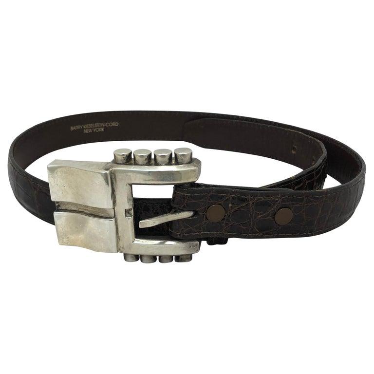 1986 Kieselstein-Cord Brown Alligator Belt w/Sterling Silver Buckle For Sale