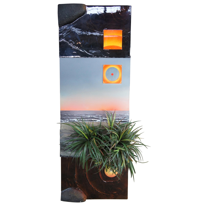 """1986 Mixed-Media """"+"""" 'Yucca' by Dike Blair Sunset Ocean Beach Landscape Art"""