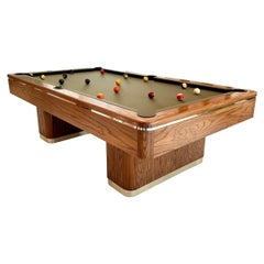 1986 Oak and Brass Pool Table