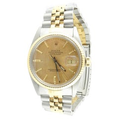 1986 Rolex Men's Two Tone Watch 16013 Gold Linen Stick Dial