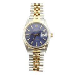 1986 Rolex Men's Watch Two-Tone Blue Dial Gold Markers Box Tags