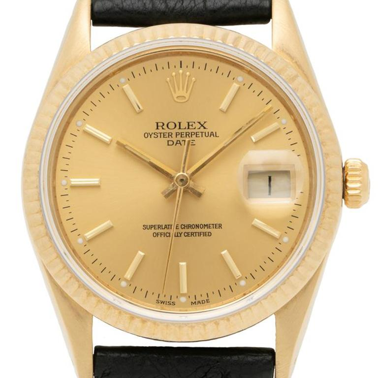 1986 Rolex Oyster Perpetual Date 14k Gold Model 15037  Additional Information: Maker: Rolex Model: 15037 Serial Number:   Year: 1986 Material: 14k Yellow Gold, Original Ostrich Leather Strap Dial: 14k Yellow Gold Movement: Automatic Case