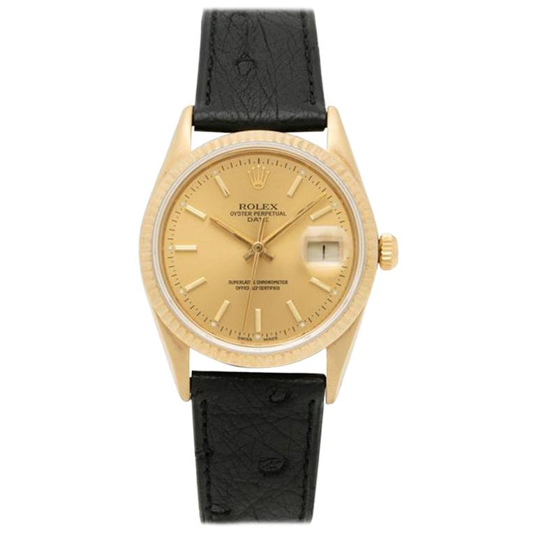 1986 Rolex Oyster Perpetual Date 14 Karat Gold Model 15037 For Sale