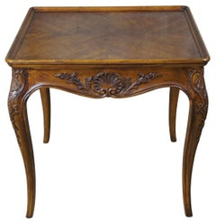 1986 Vintage Henredon Country French Square Walnut Side Accent Table 3201-42