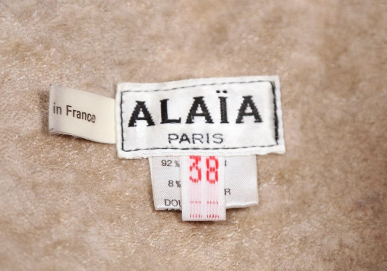 1987 AZZEDINE ALAIA flared brown shearling coat with shawl collar For Sale 1