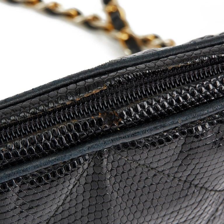 1987 Chanel Black Quilted Lizard Leather Vintage Timeless Fringe Shoulder Pochet For Sale 6