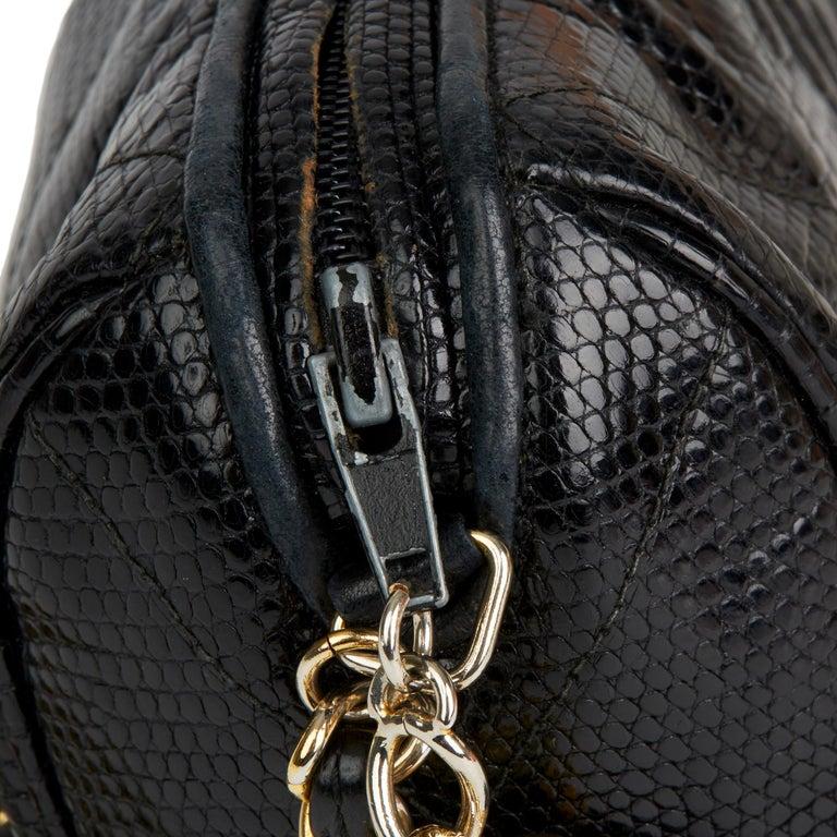 1987 Chanel Black Quilted Lizard Leather Vintage Timeless Fringe Shoulder Pochet For Sale 7