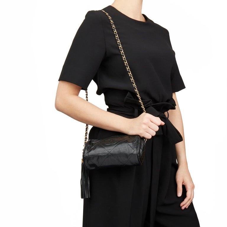 1987 Chanel Black Quilted Lizard Leather Vintage Timeless Fringe Shoulder Pochet For Sale 8