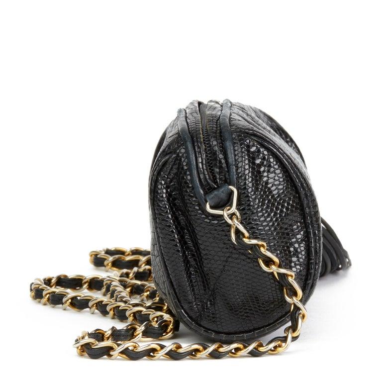 1987 Chanel Black Quilted Lizard Leather Vintage Timeless Fringe Shoulder Pochet In Good Condition For Sale In Bishop's Stortford, Hertfordshire