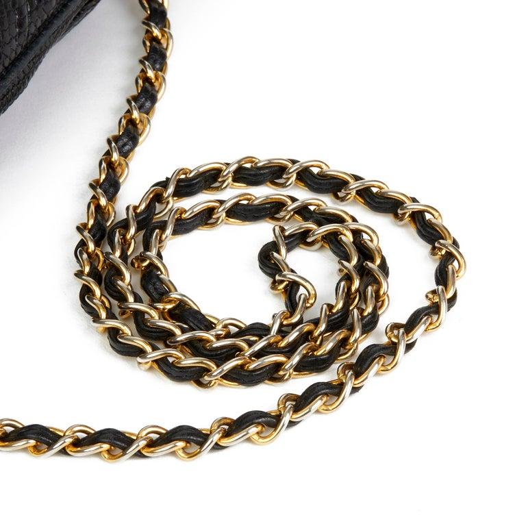 1987 Chanel Black Quilted Lizard Leather Vintage Timeless Fringe Shoulder Pochet For Sale 1