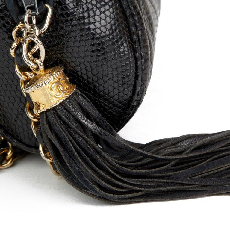1987 Chanel Black Quilted Lizard Leather Vintage Timeless Fringe Shoulder Pochet For Sale 2