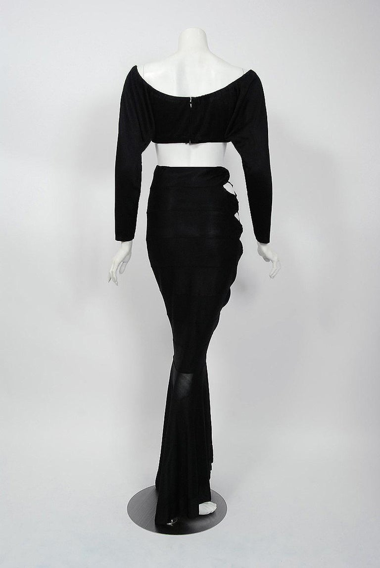 1987 Cher Witches of Eastwick Movie-Worn Alaia Lace Up Fishtail Skirt & Crop Top For Sale 6