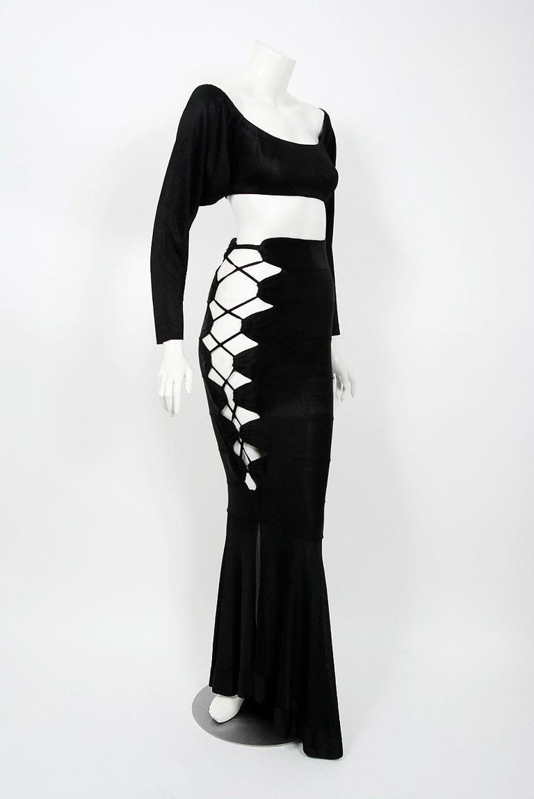 1987 Cher Witches of Eastwick Movie-Worn Alaia Lace Up Fishtail Skirt & Crop Top For Sale 1