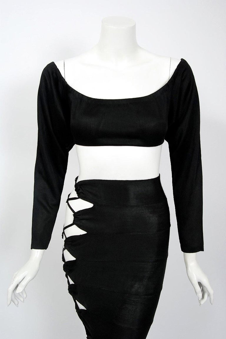 1987 Cher Witches of Eastwick Movie-Worn Alaia Lace Up Fishtail Skirt & Crop Top For Sale 2