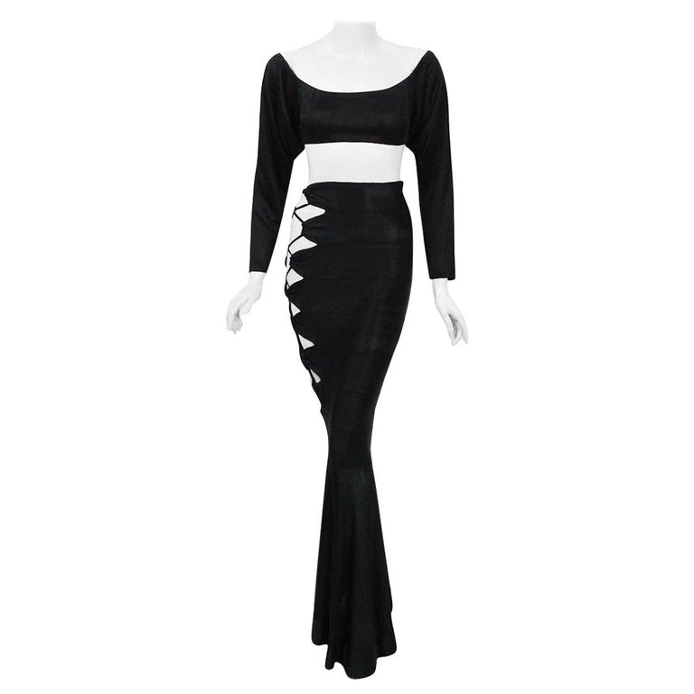 1987 Cher Witches of Eastwick Movie-Worn Alaia Lace Up Fishtail Skirt & Crop Top For Sale