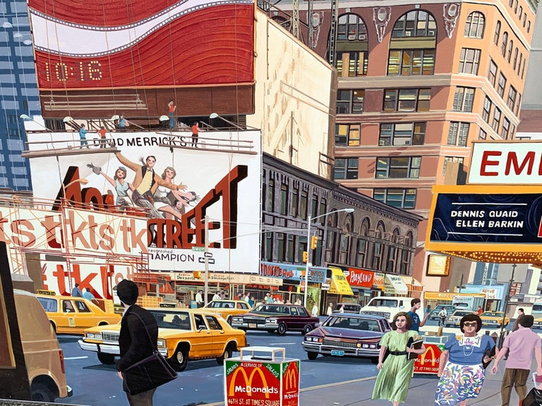 Metal 1987 NYC, Times Square Pop Art Original Painting by Matthew Popielarz For Sale
