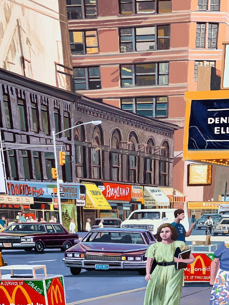 1987 NYC, Times Square Pop Art Original Painting by Matthew Popielarz For Sale 2