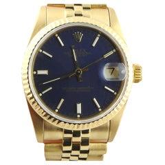 1987 Rolex Midsize 68278 18K Yellow Gold Watch Blue Dial Jubilee Band